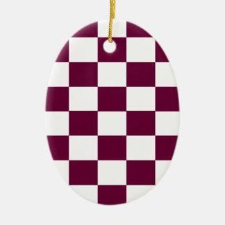Burgundy and White Checkerboards Ceramic Ornament