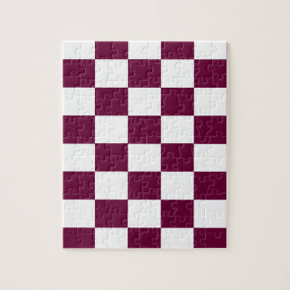 Burgundy and White Checkerboards Jigsaw Puzzle
