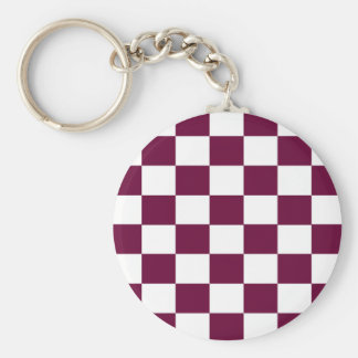 Burgundy and White Checkerboards Key Ring