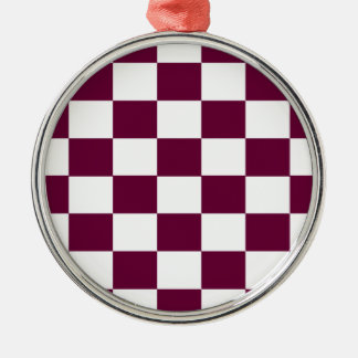 Burgundy and White Checkerboards Metal Ornament