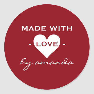 Burgundy and White - Made With Love (Custom Round Sticker