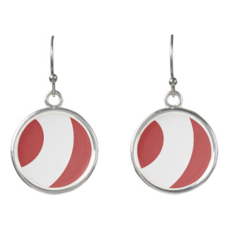 Burgundy and White Swirl Earrings
