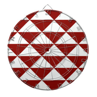 Burgundy and White Triangles Dartboard With Darts