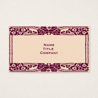 Burgundy Art Nouveau Floral Business Card