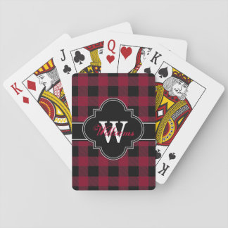 Burgundy Black Buffalo Check Plaid 1IQN Playing Cards