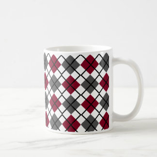 Burgundy, Black, Grey on White Argyle Print Mug