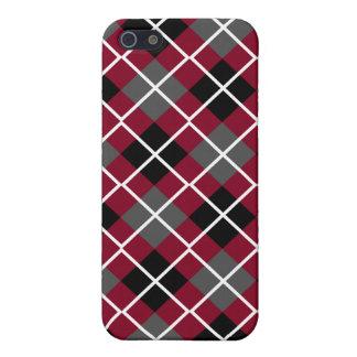 Burgundy, Black, Grey & White Argyle  iPhone 5 Cases