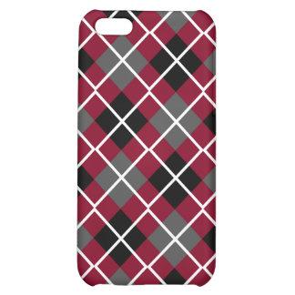 Burgundy, Black, Grey & White Argyle iPhone 5C Case