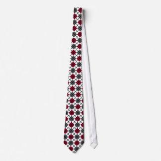 Burgundy, Black, Grey, White Argyle Print Necktie