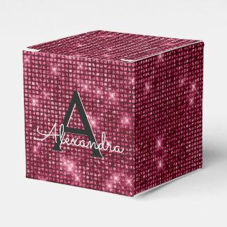 Burgundy & Black Shimmer Monogram - Add Your Name Favour Box