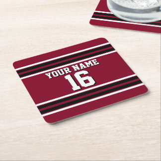 Burgundy Black Wht Team Jersey Custom Number Name Square Paper Coaster