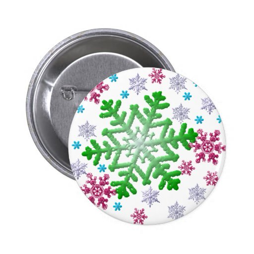 Burgundy Blue Green & Silver Snowflakes Buttons