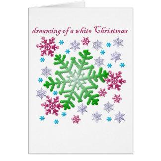 Burgundy Blue Green & Silver Snowflakes Greeting Card