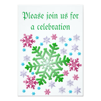 Burgundy Blue Green & Silver Snowflakes Invitation