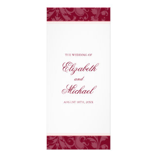 Burgundy Blush Pink Damask Swirl Wedding Program Rack Card