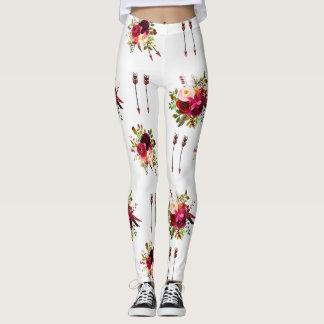 Burgundy Boho Floral Leggings