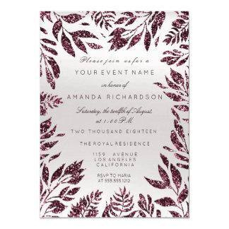Burgundy Bordeaux Gray Glitter Leafs Floral Frame Card