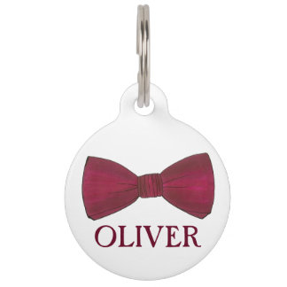 Burgundy Bow Tie Bowtie Menswear Formal Dog Tag
