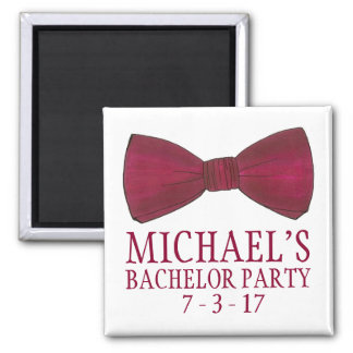 Burgundy Bow Tie Wedding Bachelor Party Magnet