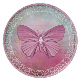 Burgundy Butterfly Decorative Plate