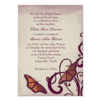 Burgundy Butterfly Swirl Wedding Invitation