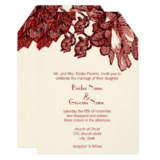 Burgundy Cabbage Rose Wedding Invitation