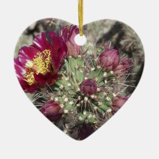 Burgundy Cactus Flowers Ceramic Ornament
