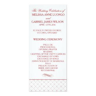 Burgundy Checked Pattern Wedding Ceremony Program