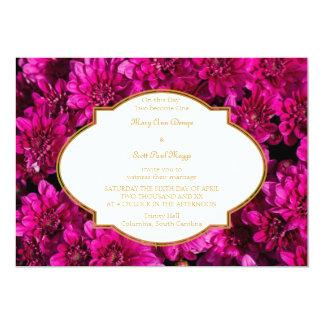 Burgundy  chrysanthemums Wedding Invitation