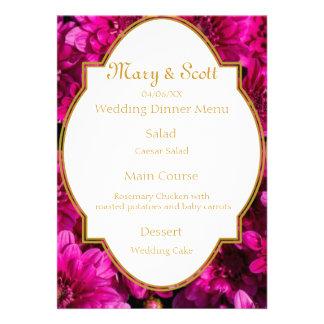 Burgundy chrysanthemums Wedding Menu Custom Invite