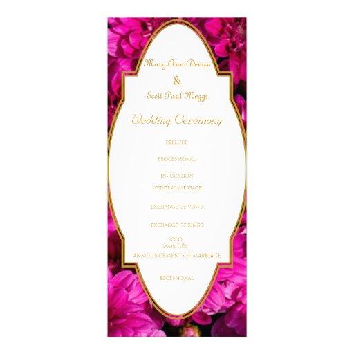 Burgundy chrysanthemums wedding program personalized invitations