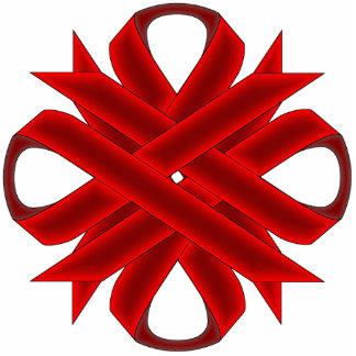 Burgundy Clover Ribbon Photo Sculpture Key Ring