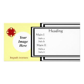 Burgundy Clover Ribbon Template Photo Greeting Card