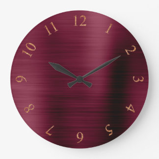 Burgundy Copper Metallic Rose Gold US UK Numbers Large Clock
