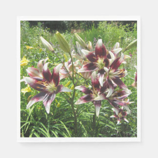 Burgundy Creme Asiatic Lilies, Yellow Daylilies Disposable Serviette
