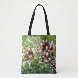 Burgundy Creme Asiatic Lilies, Yellow Daylilies Tote Bag