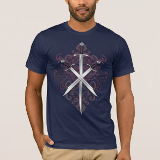 Burgundy Cross Swords& Scroll Men's T-Shirt
