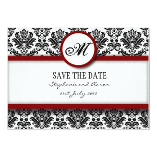 Burgundy Damask Monogram Save The Date Card