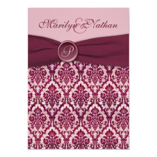 Burgundy Damask Monogrammed Wedding Invitation