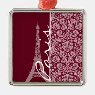 Burgundy Damask Pattern; Paris Ornament