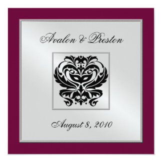 Burgundy Damask Wedding Crest Invitation
