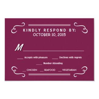 Burgundy Eat Drink & RSVP Rustic Wedding Reply 9 Cm X 13 Cm Invitation Card