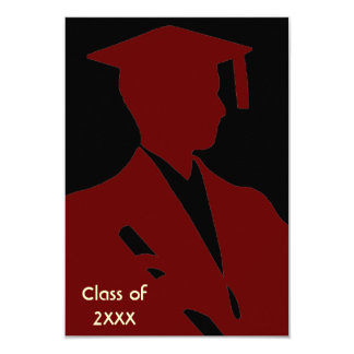 "Burgundy Elegance Graduation Invitation 3.5"" X 5"" Invitation Card"