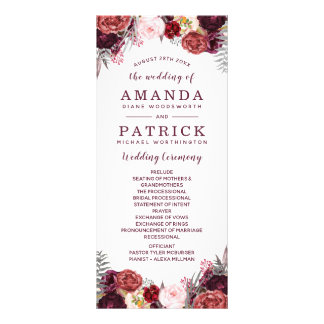 Burgundy Fall Marsala Blush Peony Wedding Programs Rack Card