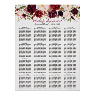Burgundy Floral 16 Tables Wedding Seating Chart
