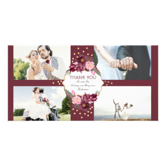 Burgundy Floral and Gold Wedding Thank You Card