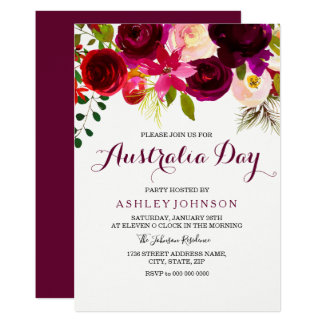 Burgundy Floral Australia Day Party Invitation