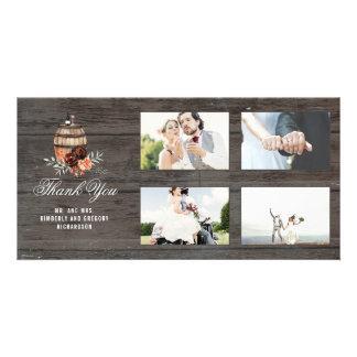 Burgundy Floral Barrel Rustic Thank You Wedding Card