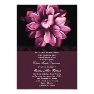 "Burgundy Floral Bloom Wedding Invitation 5"" X 7"" Invitation Card"