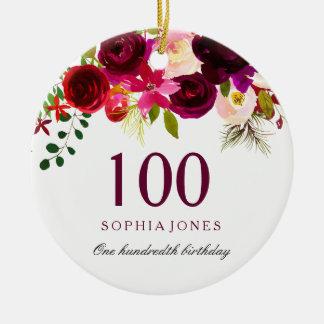 Burgundy Floral Boho 100th Birthday Gift Ceramic Ornament